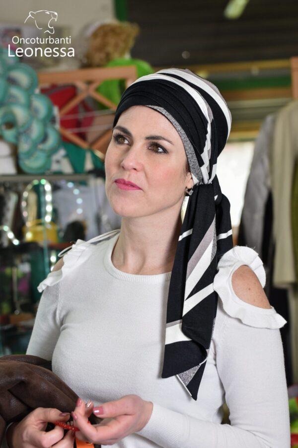oncoturbanti-leonessa-bandane-turbanti-chemio-cancro-nabel-bianco-nero