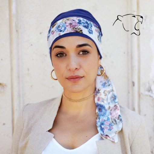 oncoturbanti-leonessa-bandane-turbanti-chemio-cancro-alyssia-fiori-rosa-blu-n-02